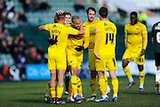 Oxford Utd's Kemar Roofe celebrates his goal with his team mates to give Oxford a 2-1 lead during the Sky Bet League 2 match between Plymouth Argyle and Oxford United at Home Park, Plymouth, England on 5 March 2016. Photo by Graham Hunt.