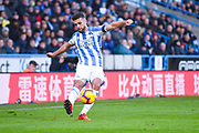 Tommy Smith of Huddersfield Town (2) passes the ball during the Premier League match between Huddersfield Town and Arsenal at the John Smiths Stadium, Huddersfield, England on 9 February 2019.