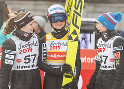 03.02.2019, Energie AG Skisprung Arena, Hinzenbach, AUT, FIS Weltcup Ski Sprung, Damen, im Bild v.l. Anne Odine Stroem (NOR), Maren Lundby (NOR), Silje Opseth (NOR) // v.l. Anne Odine Stroem (NOR), Maren Lundby (NOR), Silje Opseth (NOR) during the woman's Jump of FIS Ski Jumping World Cup at the Energie AG Skisprung Arena in Hinzenbach, Austria on 2019/02/03. EXPA Pictures © 2019, PhotoCredit: EXPA/ Reinhard Eisenbauer