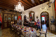 Malaysia, Penang. Old Georgetown Streets - a UNESCO World Heritage site. Peranakan Mansion, former home of a rich Chinese family.