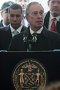 l to r: Governor David Patterson and Mayor Michael Bloomberg at The Brooklyn Bridge Park Ribbon-Cutting Ceremony held at Brooklyn Bridge Park at Pier 1 on March 22, 2010 in Brooklyn, NY.