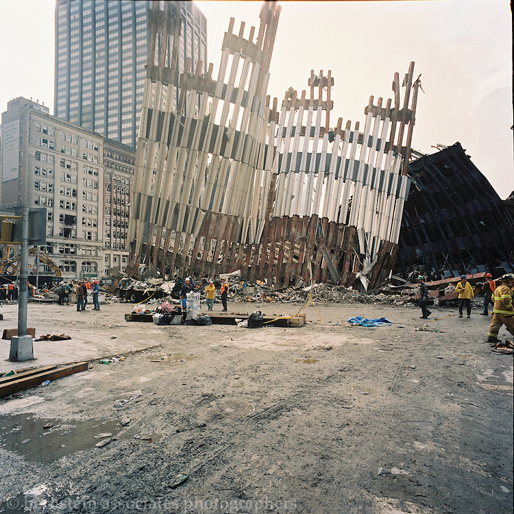 Photographs from September 12th, 2001 of the aftermath of the terrorist attacks on the World Trade Center buildings in New York City.