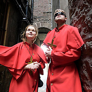 Performers play to the crowds on the Royal Mile during the Edinburgh Fringe Festival.
