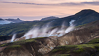 Háuhverir geothermal area, situated in the hills of Reykjafjöll and Kaldaklofsfjöll mountains. interior of Iceland.