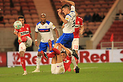 An unorthodox way of stopping Ryan Delaney during the second round of the Carabao EFL Cup match between Middlesbrough and Rochdale at the Riverside Stadium, Middlesbrough, England on 28 August 2018.