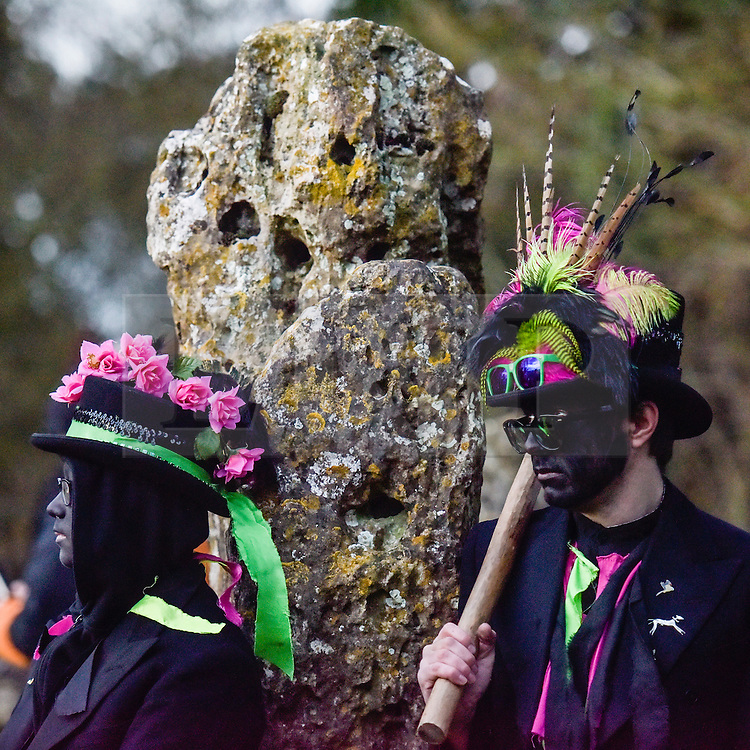 &copy; Licensed to London News Pictures. 20/12/2015 ROLLRIGHT STONES, OXFORDSHIRE.<br /> Winter Solstice celebrations at the Ancient Rollright Stones in Oxfordshire. Druids performed a ceremony as the sun rose and the Boerma Morris performed their traditional Morris dances inside the stone circle.<br /> Photographer : Mark HemsworthPhoto credit : MARK HEMSWORTH/LNP