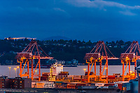 Cranes and containers at the Port of Seattle, Seattle, Washington USA.