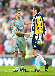 SUNDERLAND, ENGLAND - Saturday, August 16, 2008: Liverpool's captain Steven Gerrard MBE and Sunderland's goalkeeper Craig Gordon during the opening Premiership match of the season at the Stadium of Light. (Photo by David Rawcliffe/Propaganda)