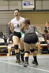21 September 2013:  Lizzy Hawk and Sydney Sabino during an NCAA women's division 3 Volleyball match between the Lincoln Christian University Lady Lynx and the Illinois Wesleyan  University Titans in Shirk Center, Bloomington IL