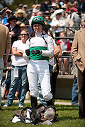 2  April, 2011:  Jockey Danielle Hodson watches the race replay after the Camden Plate Maiden Hurdle.