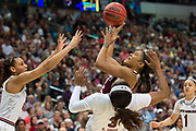 Mississippi State Lady Bulldogs forward Victoria Vivians #35 drives to the basket against the South Carolina Gamecocks during the NCAA Women's Championship game at the American Airlines Center in Dallas, Texas on April 2, 2017.  (Cooper Neill for The Players Tribune)