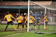 Shamir Fenelon heads home Crawley's second during the Sky Bet League 2 match between Crawley Town and Newport County at the Checkatrade.com Stadium, Crawley, England on 1 March 2016. Photo by Michael Hulf.