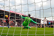 Goal - Anthony Martial (11) of Manchester United scores the equalising goal past Asmir Begovic (27) of AFC Bournemouth to make the score 1-1 during the Premier League match between Bournemouth and Manchester United at the Vitality Stadium, Bournemouth, England on 3 November 2018.