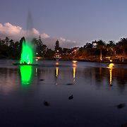 Dusk shot of coloured  lake fountain at Virginia Lake Park, Virginia Hill,  Wanganui. 28th December 2010. Photo Tim Clayton.