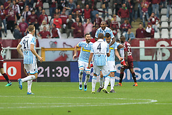 May 13, 2018 - Turin, Piedmont, Italy - Alberto Grassi (S.P.A.L.)  celebrates after scoring with teammates during the Serie A football match between Torino FC and S.P.A.L. at Olympic Grande Torino Stadium on May 13, 2018 in Turin, Italy. (Credit Image: © Massimiliano Ferraro/NurPhoto via ZUMA Press)