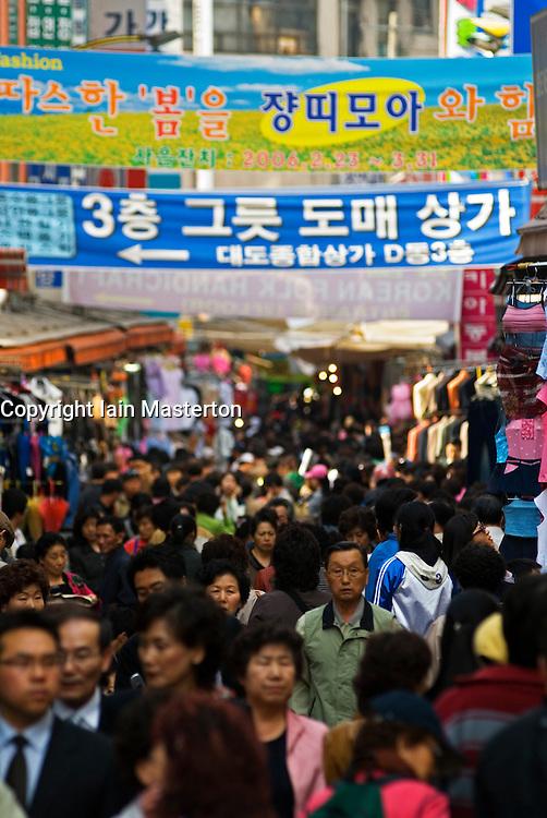 Busy street at Namdaemun Market in Seoul South Korea