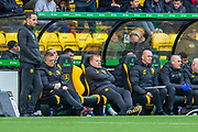Manager of Celtic FC, Neil Lennon looks dejected on the bench after his team lose a second goal to Livingston during the Ladbrokes Scottish Premiership match between Livingston FC and Celtic FC at The Tony Macaroni Arena, Livingston, Scotland on 6 October 2019.