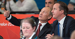 Russian President Vladimir Putin and Prime Minister David Cameron watching the  Judo at the London 2012 Olympics , Thursday 2nd August 2012  Photo by: i-Images