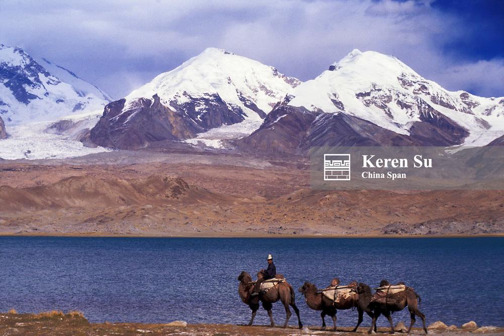 Kirghiz man with camel caravan by Karakuli Lake and Mt. Kunlun, Pamir Plateau, Xinjiang Province, Silk Road, China