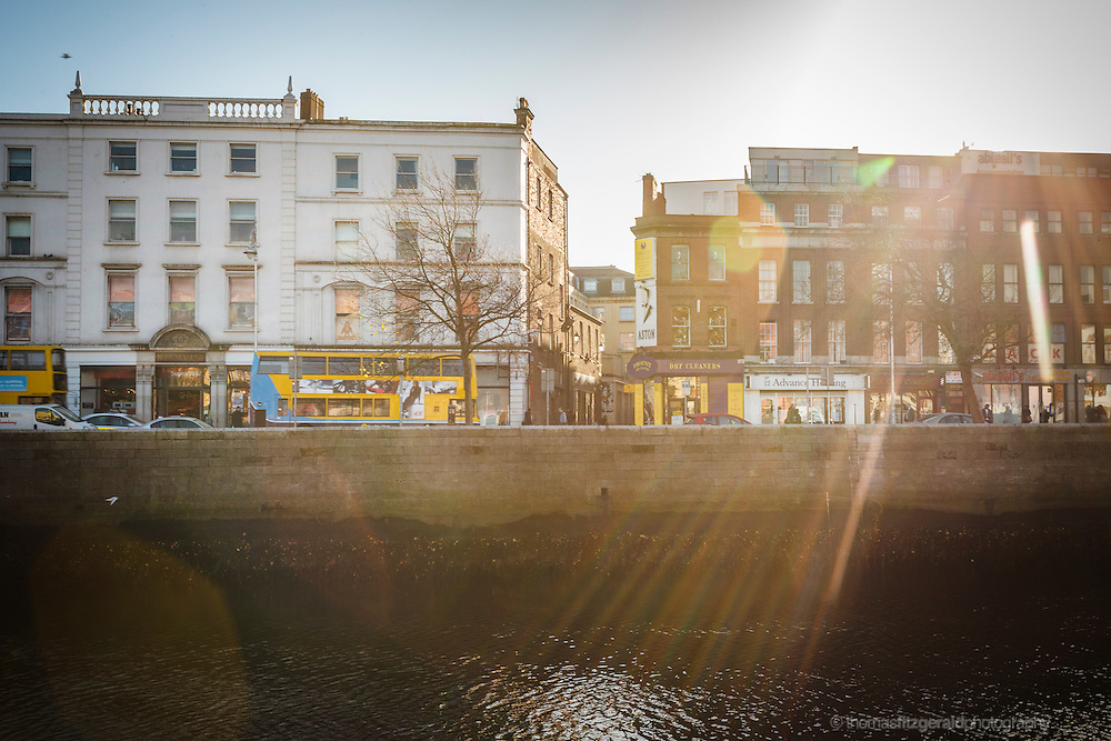 2012: Dublin, Ireland. Winter Sun over Aston Quay