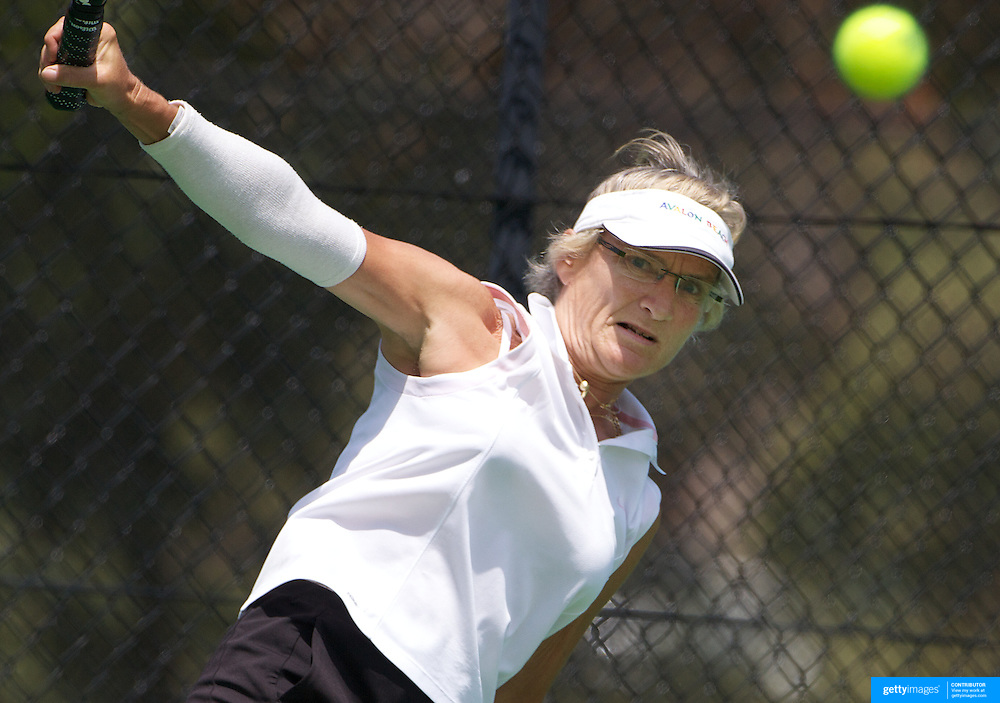 Sylvia Bauwens, Germany, in action in the 60 Womens Singles during the 2009 ITF Super-Seniors World Team and Individual Championships at Perth, Western Australia, between 2-15th November, 2009.