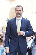 King Felipe VI of Spain, Queen Sofia of Spain attended the Easter Mass at the Cathedral of Palma de Mallorca on April 16, 2017 in Palma de Mallorca, Spain.