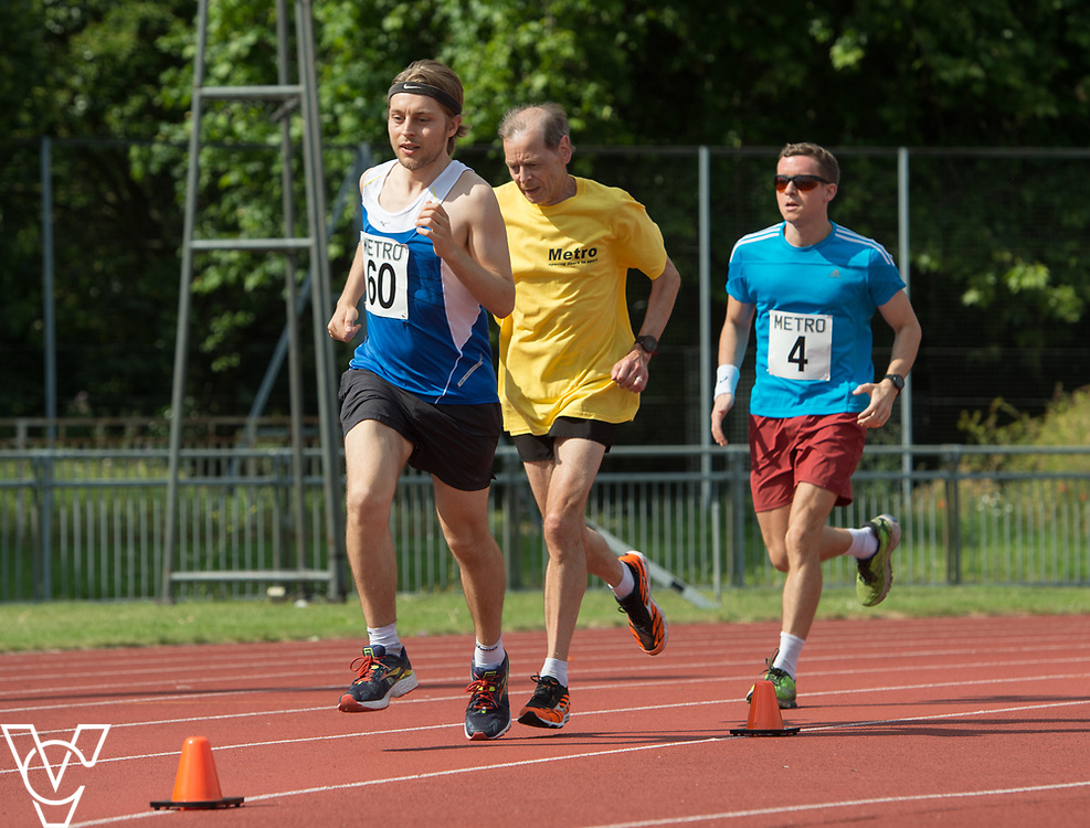 Metro Blind Sport's 2017 Athletics Open held at Mile End Stadium.  5000m.  From left, Tom Skelton with guide runner and Rhys Jones<br /> <br /> Picture: Chris Vaughan Photography for Metro Blind Sport<br /> Date: June 17, 2017