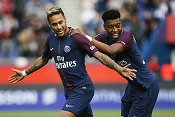 September 30, 2017 - Paris, France - Paris Saint-Germain's Brazilian forward Neymar (L) is congratuled by Paris Saint-Germain's French defender Presnel Kimpembe (R) after scoring a free kick during the French L1 football match Paris Saint-Germain (PSG) vs Bordeaux (FCGB) on September 30, 2017 at the Parc des Princes stadium in Paris. (Credit Image: © Geoffroy Van Der Hasselt/NurPhoto via ZUMA Press)