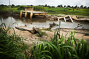 Bridge destroyed by flooding near Notse, Togo on Monday October 6, 2008.