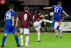 Jari Litmanen of Lahti vs Danjel Rakuscek of Gorica at 1st football match of 2nd preliminary Round of UEFA Europe League between ND Gorica and FC Lahti, on July 16 2009, in Nova Gorica, Slovenia. (Photo by Vid Ponikvar / Sportida)