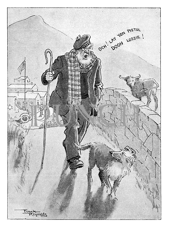 (A Scotsman sings a variation on Pistol Packin' Mama whilst walking his dog past a US Army base during World War Two)