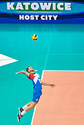 Poland, Warsaw - 2017 August 24: Drazen Luburic from Serbia  serves the ball while match Poland versus Serbia during LOTTO EUROVOLLEY POLAND 2017 - European Championships in volleyball at Stadion PGE Narodowy on August 24, 2017 in Warsaw, Poland.<br /> <br /> Mandatory credit:<br /> Photo by &copy; Adam Nurkiewicz<br /> <br /> Adam Nurkiewicz declares that he has no rights to the image of people at the photographs of his authorship.<br /> <br /> Picture also available in RAW (NEF) or TIFF format on special request.<br /> <br /> Any editorial, commercial or promotional use requires written permission from the author of image.