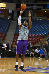 Jan 8, 2012; Sacramento, CA, USA; Sacramento Kings center Jason Thompson (34) warms up before the game against the Orlando Magic at Power Balance Pavilion. Mandatory Credit: Jason O. Watson-US PRESSWIRE