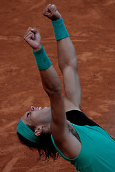 Rome, Italy 12/05/2007 - Tennis - Italian ATP Masters Series 2007 -  Rafael Nadal from Spain reacts at winning the  match against Filippo Volandri (ITA)