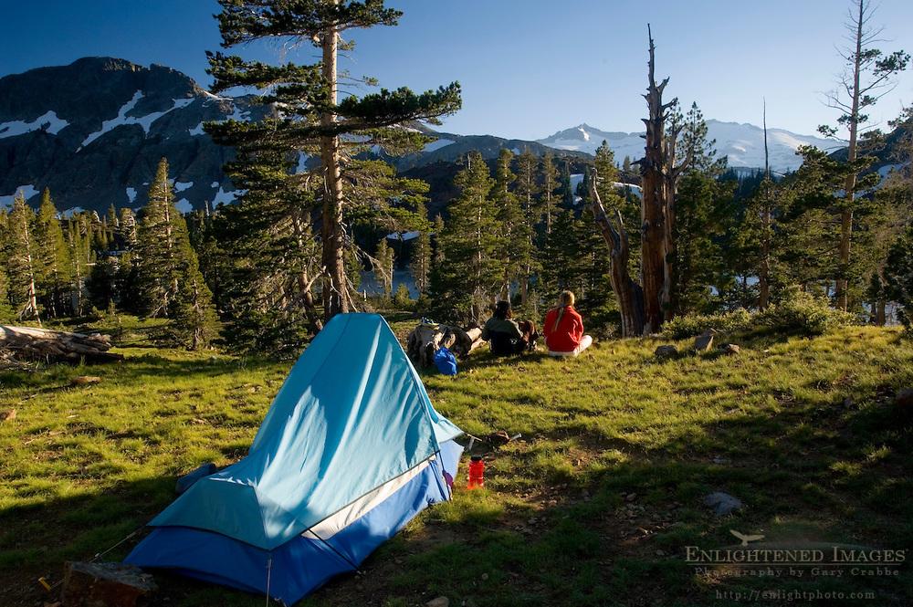 Women backpackers tent camping, near Suzie Lake, Desolation Wilderness, El Dorado National Forest, California