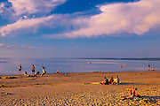 People on the sandy beach along  Lake Winnipeg<br /> Grand Beach Provincial Park<br /> Manitoba<br /> Canada