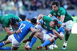 February 24, 2019 - Rome, Italy - Italy v Ireland - Rugby Guinness Six Nations.Dave Kilcoyne of Ireland tackled by Leonardo Ghiraldini of Italy at Olimpico Stadium in Rome, Italy on February 24, 2019. (Credit Image: © Matteo Ciambelli/NurPhoto via ZUMA Press)