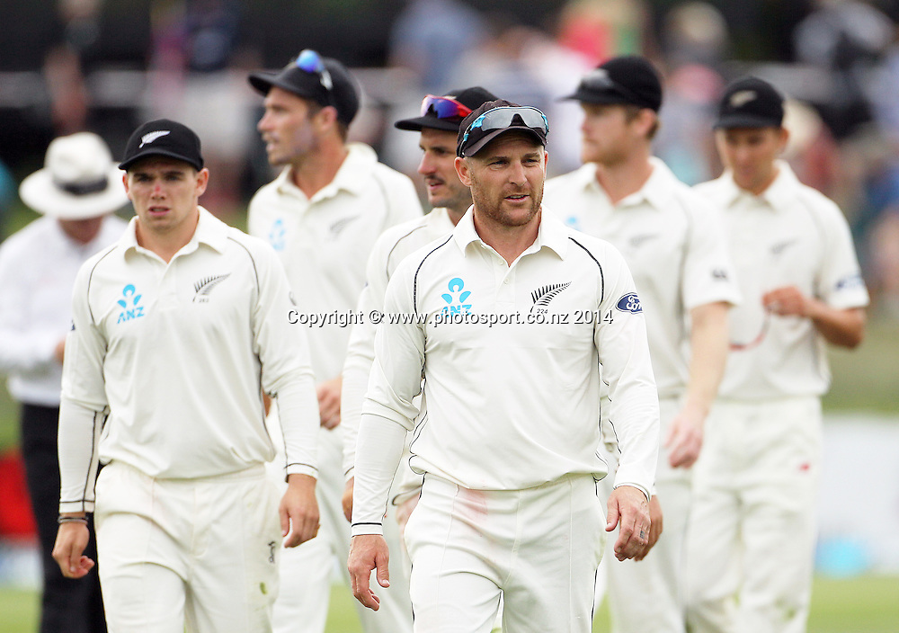 Brendon McCullum, captain of the Black Caps leads the team from the field at the end of play on Day 2 of the boxing Day Cricket Test Match between the Black Caps v Sri Lanka at Hagley Oval, Christchurch. 27 December 2014 Photo: Joseph Johnson / www.photosport.co.nz