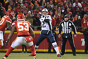 Jan 20, 2019; Kansas City, MO, USA; New England Patriots quarterback Tom Brady (12) looks to throw the football during the AFC Championship game at Arrowhead Stadium. The Patriots defeated the Chiefs 37-31 in overtime to advance to their fifth Super Bowl in eight seasons. (Robin Alam/Image of Sport)