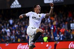 December 23, 2018 - Valencia, Spain - Santi Mina of Valencia CF  celebrate after scoring the 1-0 goal during  spanish La Liga match between Valencia CF vs SD Hueca at Mestalla Stadium on December 23, 2018. (Photo by Jose Miguel Fernandez/NurPhoto) (Credit Image: © Jose Miguel Fernandez/NurPhoto via ZUMA Press)