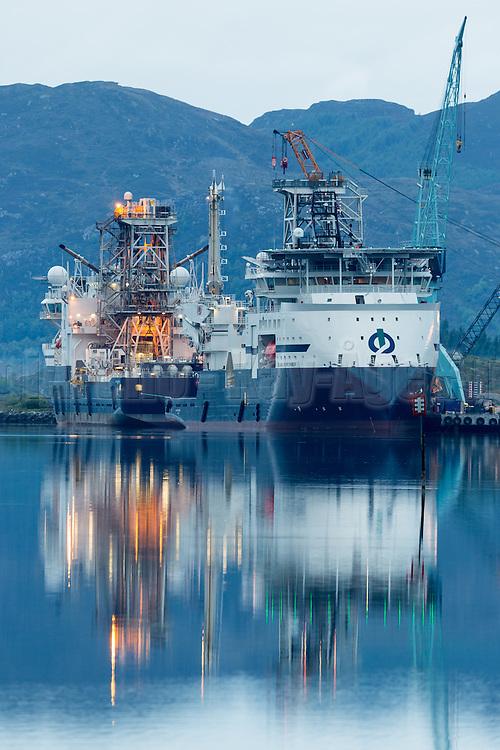 Two vessels owned by Island Offshore, alongside at Ulstein Yard | To av båtene til Island Offshore liggende ved kai på Ulstein Verft, Ulsteinvik.