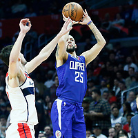 09 December 2017: LA Clippers guard Austin Rivers (25) takes a jump shot past Washington Wizards guard Tomas Satoransky (31) during the LA Clippers 113-112 victory over the Washington Wizards, at the Staples Center, Los Angeles, California, USA.