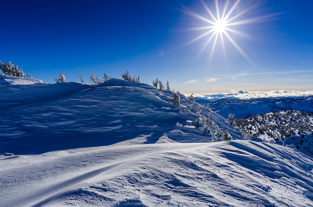 Sunflair over the Sierra from Mammoth Mountain Ski Area, Mammoth Lakes, California USA