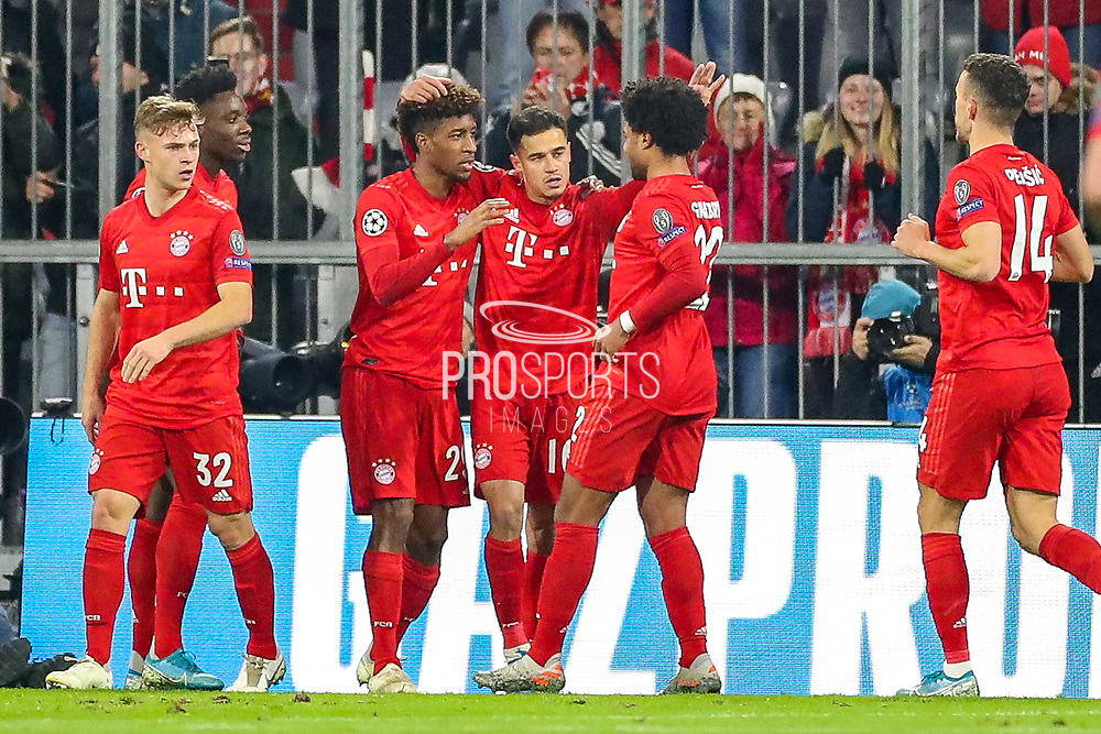 Goal Bayern Munich midfielder Kingsley Coman (29) scores a goal and celebrates 1-0 during the Champions League match between Bayern Munich and Tottenham Hotspur at Allianz Arena, Munich, Germany on 11 December 2019.