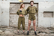 Military concept. Models in Israeli Army uniform is a deserted location