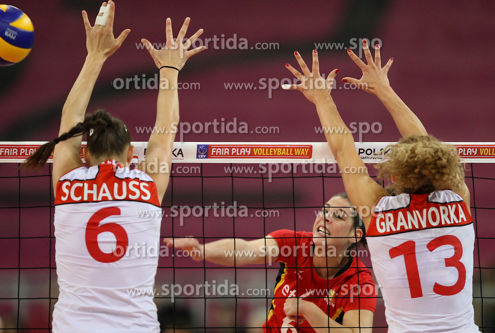 04.01.2014, Atlas Arena, Lotz, POL, FIVB, Damen WM Qualifikation, Belgien vs Schweiz, im Bild Charlotte LEYS (BEL), Patricia SCHAUSS (SUI), Ines GRANVORKA (SUI) // Charlotte LEYS (BEL), Patricia SCHAUSS (SUI), Ines GRANVORKA (SUI) during the ladies FIVB World Championship qualifying match between Belgium and Switzerland at the Atlas Arena in Lotz, Poland on 2014/01/05. EXPA Pictures &copy; 2014, PhotoCredit: EXPA/ Newspix/ Tomasz Jastrzebowski<br /> <br /> *****ATTENTION - for AUT, SLO, CRO, SRB, BIH, MAZ, TUR, SUI, SWE only*****