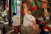Chaozhou (Chiu Chow) style opera in Shek Tong Tsui district, Hong Kong.<br /> An actress waiting backstage during the show.