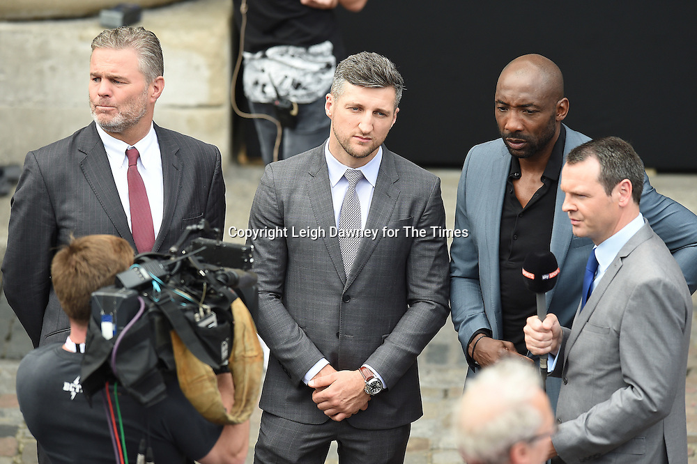 Former boxers (L-R) Glenn McCory, Carl Froch and Johnny Nelson at the Joshua, Breazeale weigh in West Piazza, Covent Garden, London on the 24th June 2016. © Leigh Dawney for The Times.