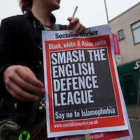 Members of Unite Against Facism (UAF) waged a counter-protest demonstration to English Defence League (EDL) rally in Leicester, England, on October 09, 2010. Approximately 1000 EDL protestors assembled for the rally with bricks and smoke bombs being thrown at police.  Several arrests were made in Leicester's largest policing operation in 25 years.