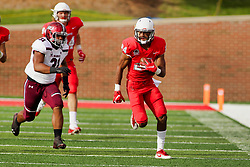 NORMAL, IL - October 13: Off towards the goal line with Christian Uphoff during a college football game between the ISU (Illinois State University) Redbirds and the Southern Illinois Salukis on October 13 2018 at Hancock Stadium in Normal, IL. (Photo by Alan Look)